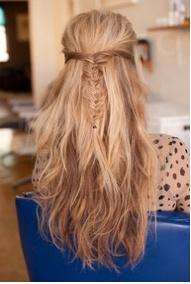 : Hairstyles, Idea, Half Up, Hair Styles, Long Hair, Hair Makeup, Fishtail Braids, Beauty