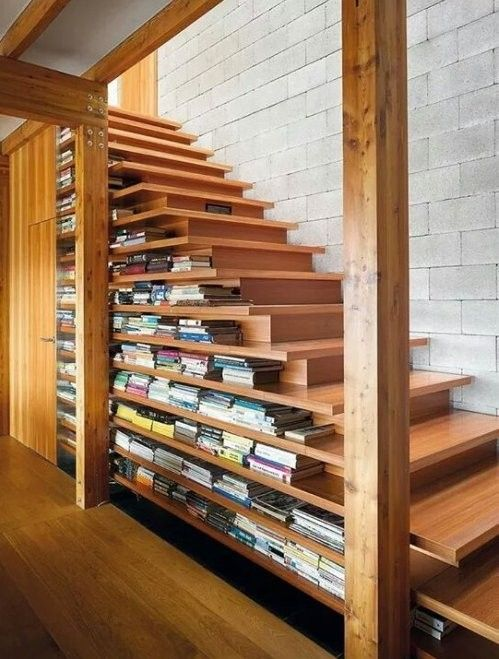 Nice Bookshelf/Staircase - Stairs, Designs Of Stairs Inside House, Home Stairs Ideas, Staircase Design Ideas, Modern And Retro Staircase Designs For Big And Small Homes