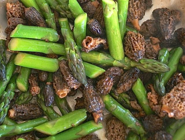 Asparagus and morels are at their best when simply sauteed together in a bit of butter in this easy recipe.