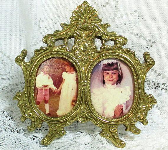 Vintage Brass Ornate Filigree Double Photo Frame Victorian