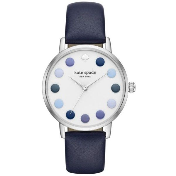 Kate Spade New York Navy Womens Navy Leather And Silver-Tone Metro... ($175) ❤ liked on Polyvore featuring jewelry, watches, navy, water resistant watches, quartz movement watches, leather wrist watch, navy blue watches and silver tone watches