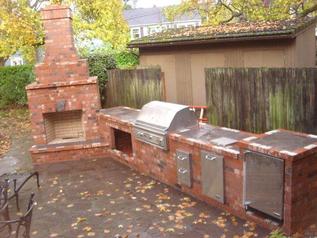 Red Brick Outdoor Fireplace Portland