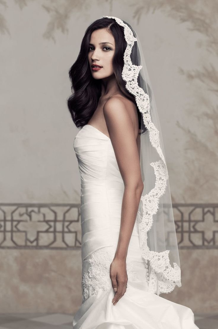 View Lace Mantilla Veil - Style #V430 from Paloma Blanca. One tier Mantilla veil…