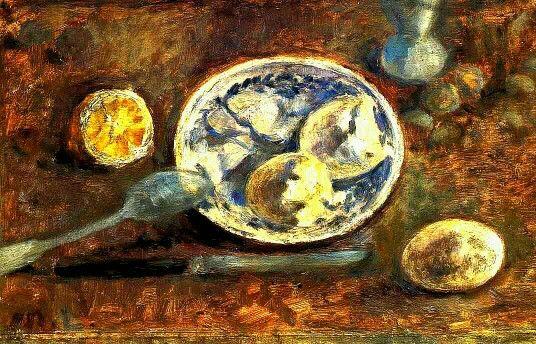 «Натюрморт с лимоном и яйцом» 1920 г. Холст, масло 23,5 х 37,5 см.  Государственный Русский музей. Санкт-Петербург, Россия