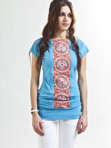 Turquoise trendy t-shirt designed by Jana Hodanová. Rock Café Fashion, Prague