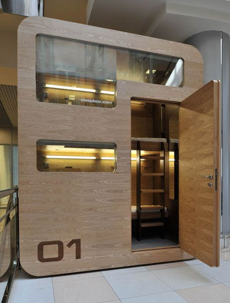Sleepbox, has all the amenities of a hotel room in a box the size of a dumpster