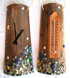 Teja reloj y teja termometro con mosaico