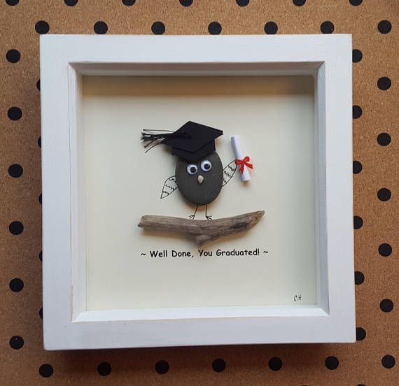 This Quirky Well Done, You Graduated Pebble Art is completely unique, made using pebbles i personally gathered from Devon beaches. I have designed the background myself, and have printed the text as shown. The pebble has 3d googly eyes securely attached to give them a playful