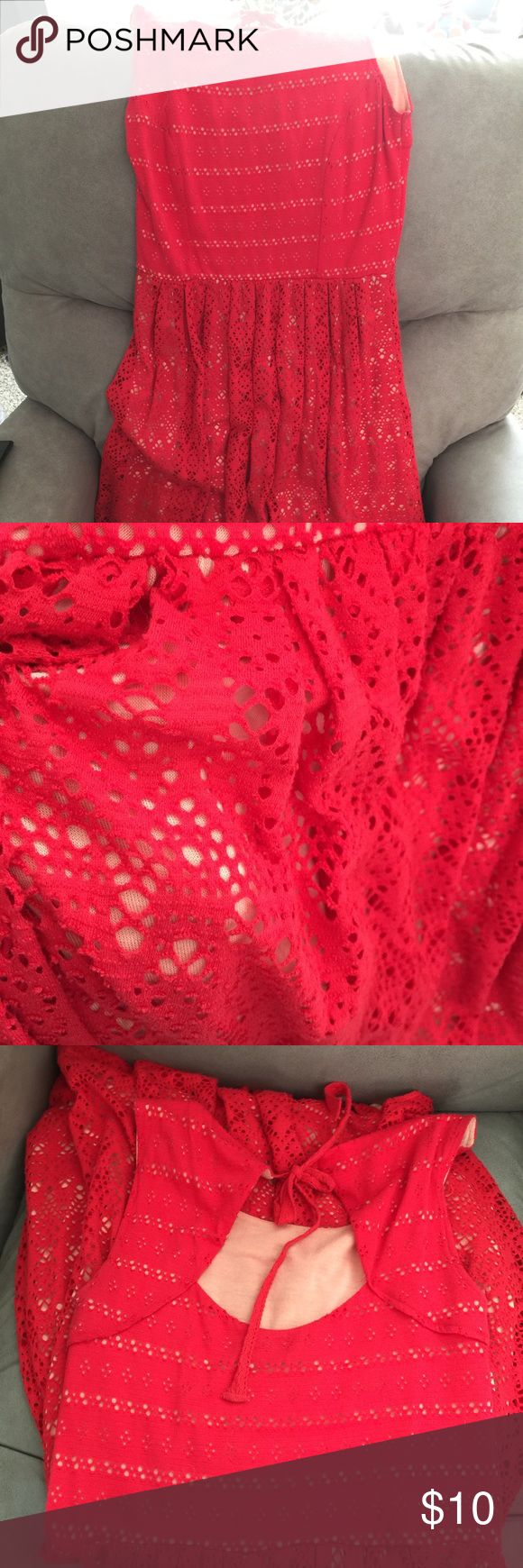 Coral lace Anthropologie Postmark fit flare dress Postmark Anthropologie lace dress in bright coral red. Very soft and stretchy! Comfy too! Overall great condition with just normal wear from washing. Size small. Tank bodice, cute tie bow on back. Lined. Postmark Dresses Mini