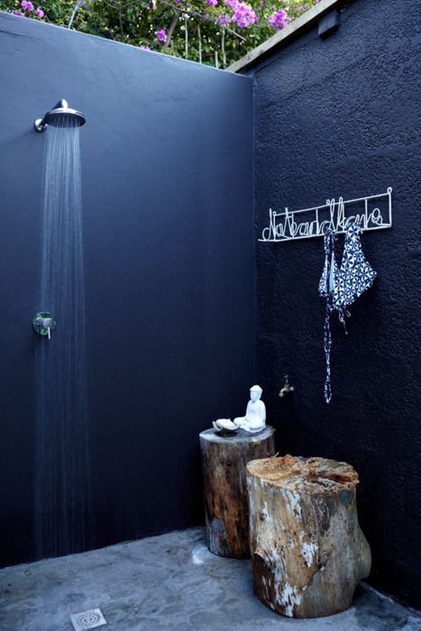 I love outdoor showers! I have fond memories of an outdoor shower at Martha's Vineyard, getting clean while the sun shines on me and looking around at a beautiful view. No view with this one, unless the other two sides are shorter. Still, an outdoor shower is a wonderful thing.