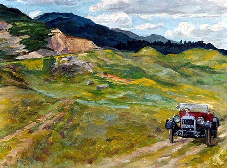 Our Car in Scotland by Nasta Rojc (Croatian 1883-1964)