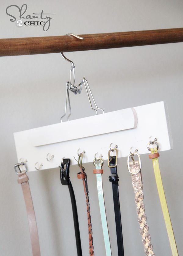 DIY Belt Hanger-- orrr.....mismatched sock hanger??