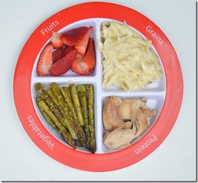 #MyPlate Dinner tonight. Balsamic Asparagus, strawberries, noodles and grilled chicken.