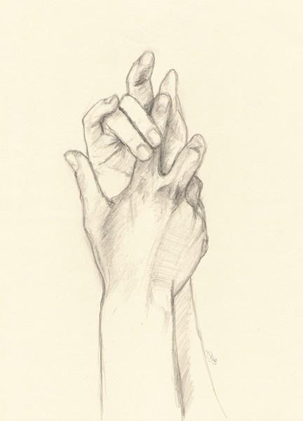 original drawing on paper, hands