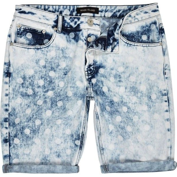 River Island Blue acid wash polka dot shorts ($20) ❤ liked on Polyvore featuring men's fashion, men's clothing, men's shorts, shorts, sale, mens blue jean shorts, mens polka dot shorts, mens summer shorts, mens jean shorts and mens denim shorts