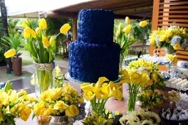 decoracao de festa azul marinho e amarelo:decoracao festa salvador azul e amarela