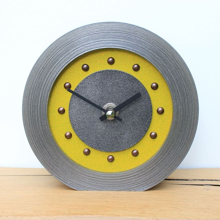 Yellow Mantel Clock with Antique Studs and Hands