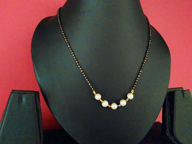 black beads and pearl  mangsalsutra pendant chain 18 inch #panasj