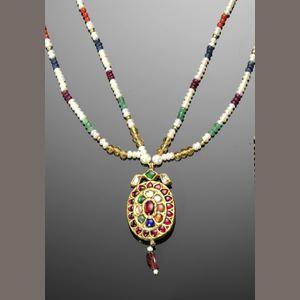 An Indian navratna gem-set gold Pendant