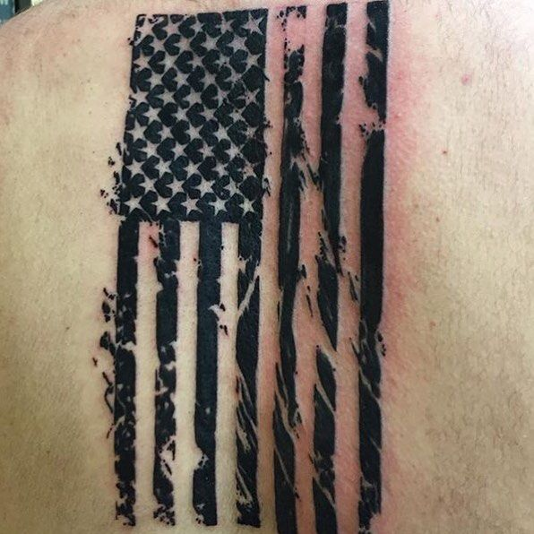 #awesome #americanflag #starsandstripes #back #tattoo from @wadesw123 #love this #patriotic #inked #bodyart #instatat #inkedup #ink #instagood #picoftheday #patriotink #patriot_ink done by #artist @scottdennistattoos by patriot_ink