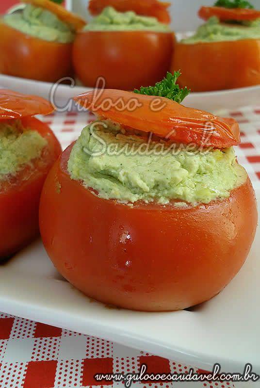 Tomates Recheados com Pasta de Ricota e Frango » Acompanhamentos, Receitas Saudáveis » Guloso e Saudável