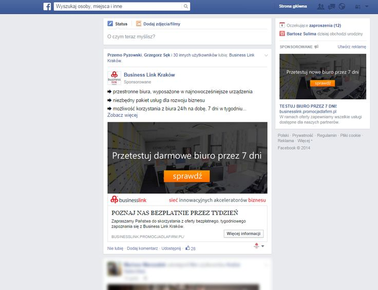 Promowaliśmy biura #Businnes Link w Krakowie za pomocą płatnych reklama na Facebooku.