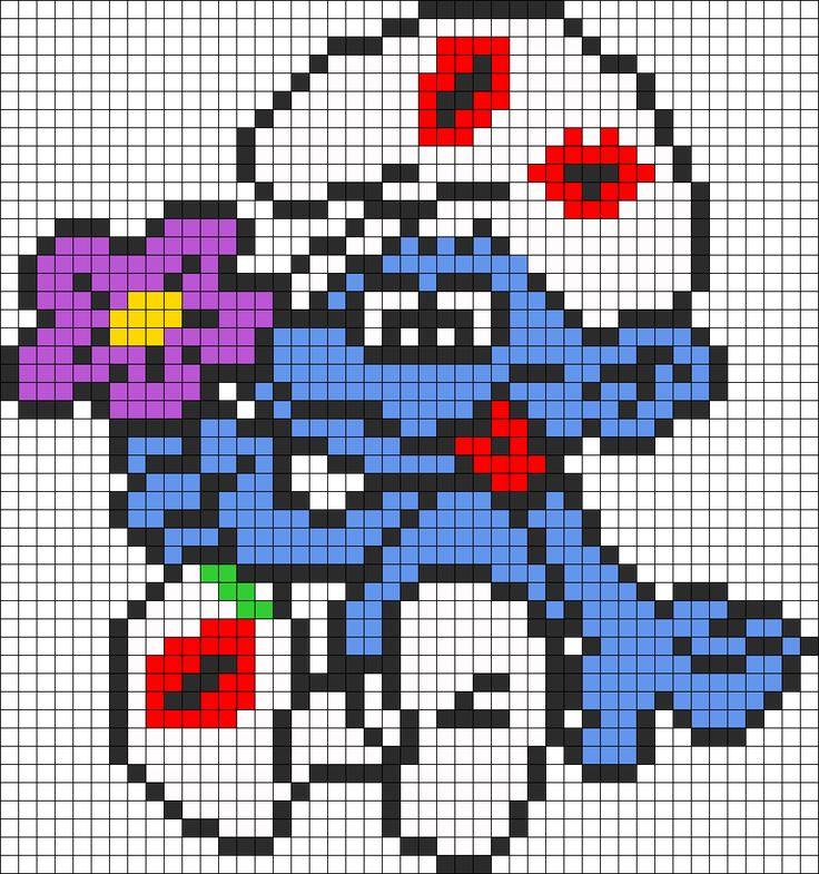 Smurf In Love For Perler Perler Bead Pattern / Bead Sprite
