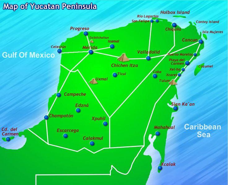 Mexican Tourism Riviera Maya regions  Cancun Isles Mujares Puerto Morelos Playa del Carmen Tulum Cozumel map
