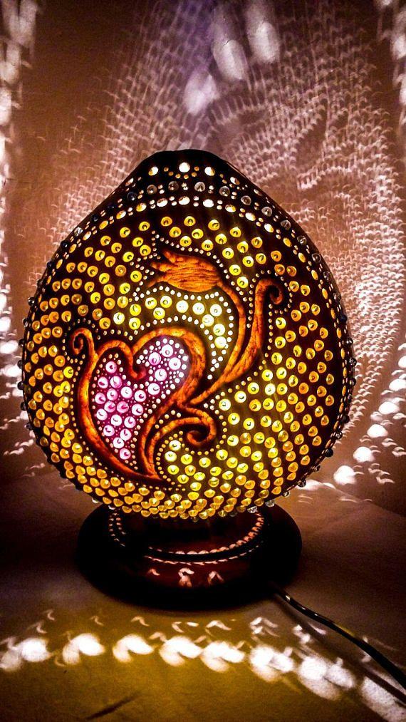 100% HANDMADE CHRISTMAS decor Gourd lamp Kürbislampe Turkish