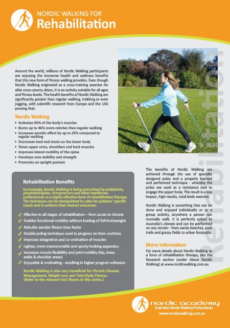 Nordic Walking Fact Sheet on Rehabilitation  www.nordicacademy.com.au