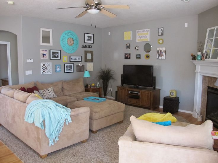 Gray Yellow And Turquoise Living Room Home Is Where The Heart Is