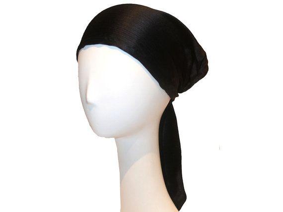 Silk Black Head Scarf 110