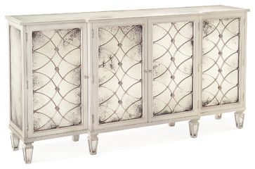 Bonet Hollywood Regency Grillwork Antique White Mirrored Sideboard Buffet transitional-buffets-and-sideboards