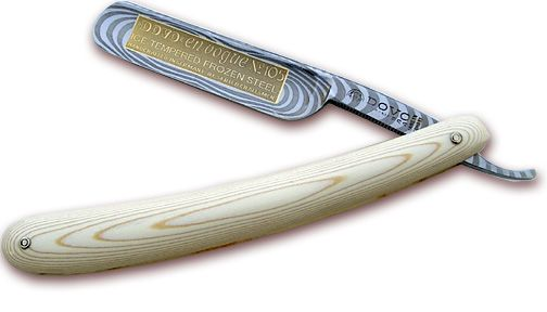 Dovo Straight Razor Ivory. I love ivory and gold but the fake Damascus pattern is a bit much...