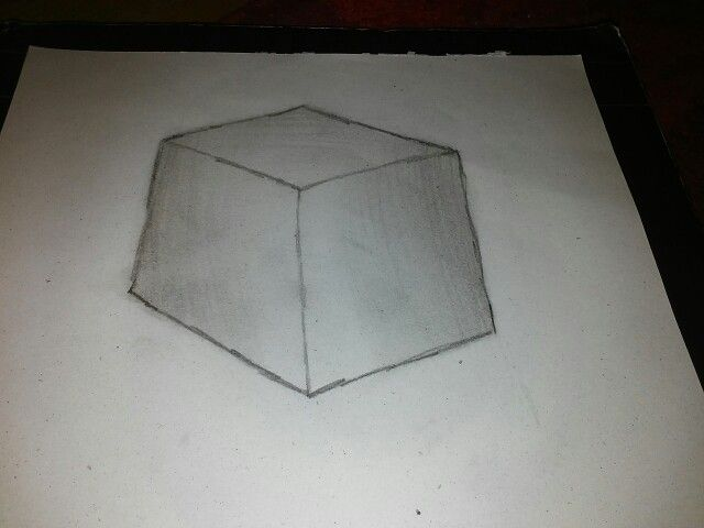 Art class homework 3D cube By : Me (Please don't repin)