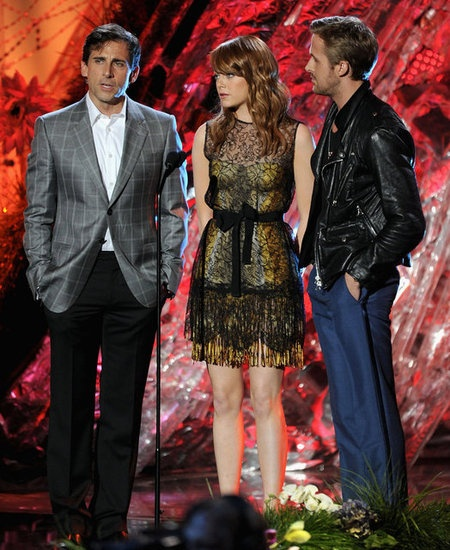 Look Back at Highlights From the MTV Movie Awards: Reese Witherspoon hugged Robert Pattinson after receiving her award in 2011.  : Emma Stone shared the stage with Steve Carell and Ryan Gosling in 2011.