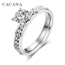 CACANA acier inoxydable anneaux pour les femmes cercle CZ diamant bijoux de mode…