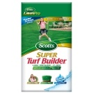 Scotts Super Turf Builder Lawn Fertilizer (2005). Covers 5,000 sq. ft. Analysis: 32-2-8 Can be applied anytime to any grass type Uses All-in-One Particle technology for consistent feeding Patented time-release nitrogen formula will not burn lawns Contains monoammonium phosphate, urea, methylene ureas, sulfate potash, ammonium sulfate, iron sulfate, manganese oxide, manganese sulfate Higher quality product than regular Turf Builder and the old Super Turf Builder. Price: $16.99