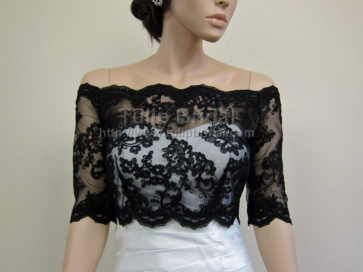 Black Off-Shoulder Alencon Lace Bridal Bolero Wedding jacket WJ003_Black
