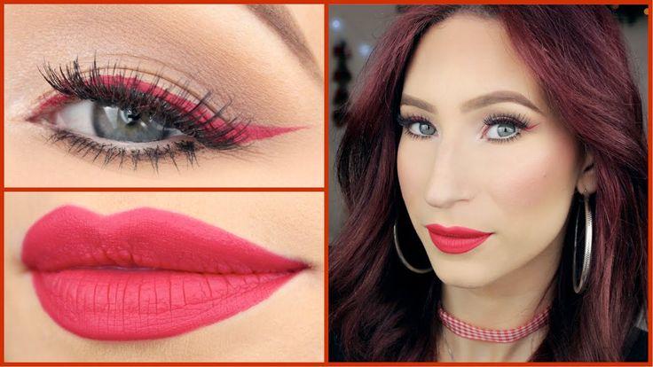 Red Eyeliner & Red Lips | Makeup Natale