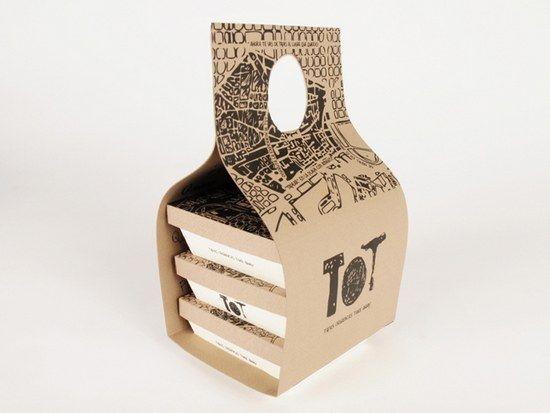 TOT es un packaging de tapas orgánicas Take Away diseñado por Gloria Kelly. Según nos explica su propia creadora en su portafolio TOT es un packaging de tapas orgánicas Take away, es decir para comida para llevar diseñado a partir de una única lámina de cartón con la cual, mediante pliegues, se consigue su diseño para transportar los alimentos a buen recuado.