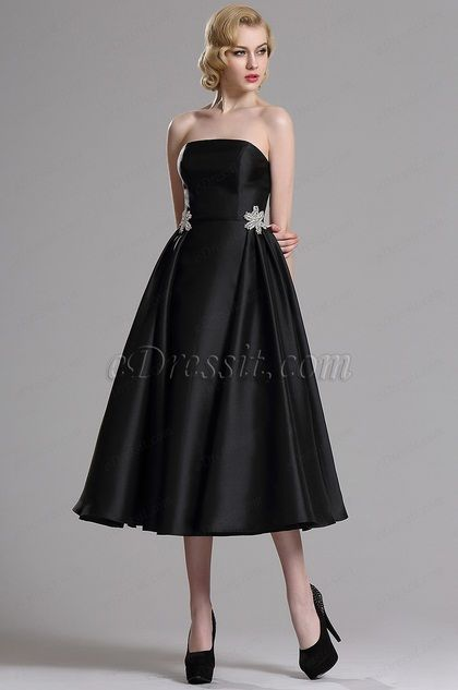 eDressit Black Strapless Pleated Cocktail Party Dress (04161500)