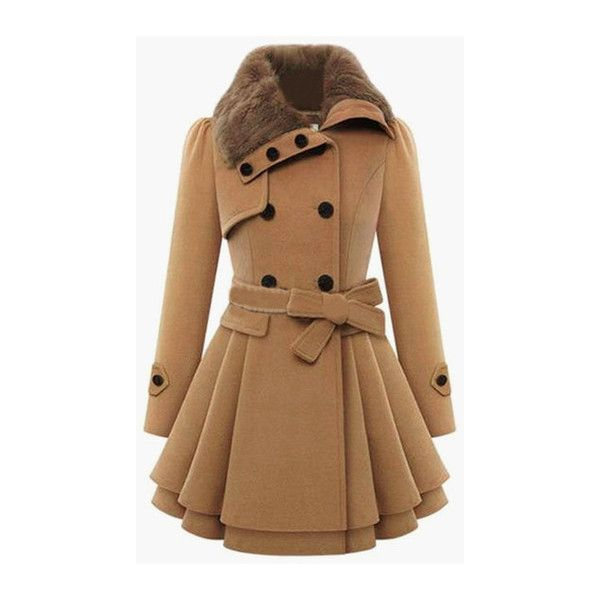 Khaki Long Sleeve Double Breasted Tie-Waist Coat featuring polyvore, fashion, clothing, outerwear, coats, khaki, brown coat, khaki coat, double-breasted coat and long sleeve coat
