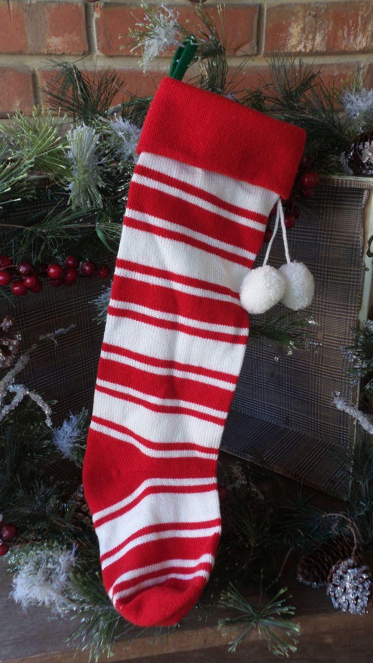 Vintage Striped SWEATER CHRISTMAS STOCKING, 80s Retro Stocking, Knit Stocking, Kurt S Adler, 1980s Stranger Things Style Stocking, Red White by PixieGoes2Market on Etsy