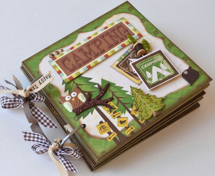 Mini Album Camping Fishing Backpacking - OOAK Scrapbook Chipboard 6x6 (Optional Boy Scout Album). $49.00, via Etsy.
