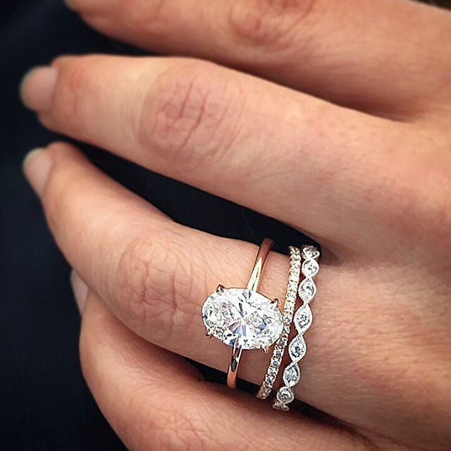visit our oval diamond ring stack online click shoppable link in our - Stacked Wedding Rings