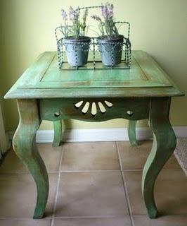 Green accent color.. Chalk Paint w/dark wax