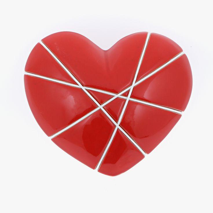 "Ceramic Heart Handmade, Wall Art Decor Ornament, Glossy Red & White Love Gift 7"" (18cm)"