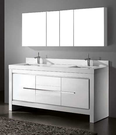 Photo Album For Website Madeli Vicenza Glossy White Modern Bathroom Vanity with Quartzstone Countertop and Ceramic Undermount Sink