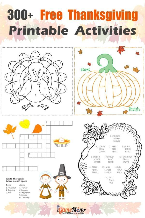 300+ Pages Free Thanksgiving Printables for Learning | iGameMom STEM ...